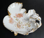 ANTIQUE HANDLED CT GERMANY CARL TIELSCH WHITE DISH FLORAL PATTERN WITH GOLD TRIM