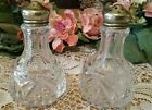 Vintage Crystal Cut Glass Hobnail Cut Miniature Salt and Pepper Shakers