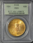 1924 Saint Gaudens American Gold Double Eagle $20 PCGS MS 63 in OGH