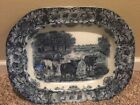 Wedgwood flow blue platter cattle cow antique plate