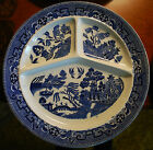 BLUE WILLOW Set of 4 Divided Grill Plates 1880s Petrus Regout Maastricht Holland