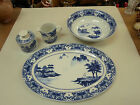CANTON BLUE Platter Large Bowl Creamer Sugar Set 5 Pcs. Oriental made in China