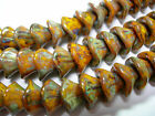 12 beads Sunflower Gold Czech Glass 3 petal Flower Beads 10mm