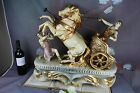 HUGE XXL capodimonte Italian Carriage Chariot horses Roman greek marked statue