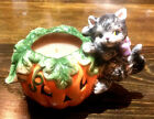Feisty Halloween Kitty from Fitz & Floyd Perched on a Jack o Lantern Candle Meow
