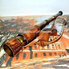 VINTAGE Style Nautical Marine Spyglass Solid Brass Telescope with Leather case