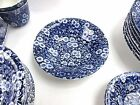 Crownford China Calico Blue Set of 9 Cereal Bowls 6 1/4