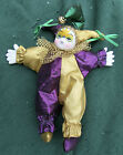 MARDI GRAS HARLEQUIN JESTER PORCELAIN CLOWN DOLL