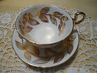 Vintage Royal Grafton cup and saucer leaf design, heavy gilt VERY NICE
