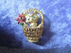 Vintage PIM PIN Cat in Basket Poinsettia Rhinestones Gold Tone