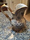 Enegant Antique Pitcher - Gray with Blue Flowers and Gold Detail