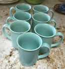 7 Vintage Aqua CORNING WARE Turquoise Mugs Green Teal Coffee Cups