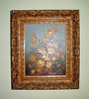 VTG ELEGANT STILL LIFE FLORAL DESIGN OIL PAINTING BY LISTED ARTIST ROBERT COX