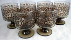 """ Tall Footed Smoke Colored Martini Style Glasses With Scrolli"