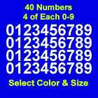 0 9 Numbers Vinyl Sticker Decals Set of 40 Select Color  Size 1 2 thru 4