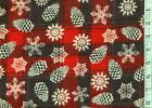 1 2 yard Snuggle FLANNEL Pinecones and Snowflakes on Red  Black Plaid BTHY