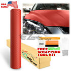 3d Carbon Fiber Texture Matte Red Vinyl Car Wrap Sticker Decal Film Sheet Diy
