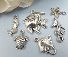 6 UNDER the SEA Charms Antique Silver Mixed Marine Collection Ocean Lot Set