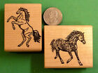 Stallions Horse Rubber Stamps Two Wood Mounted