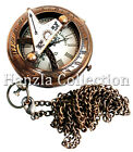 Brass Sundial Compass Style Antique Pocket Watch Necklace With Long Chain