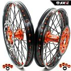 KKE 21/18 ENDURO WHEELS RIMS SET FIT KTM EXCR EXCF 125-530 250 350 BLACK SPOKE