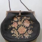 ANTIQUE BLACK FLORAL DESIGN NEEDLEPOINT  PURSE/HANDBAG