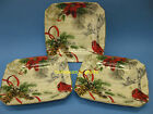 222 FIFTH POINSETTIA HOLIDAY WISHES 4 PLATES CHRISTMAS CARDINAL SIDE SALAD NEW