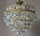 Sale Antique French Vintage Crystal Chandelier 1940's Lamp Low Ceiling Lighting