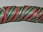 10 yd White Satin Red Green Gold Glitter Stripe Wire Ribbon Christmas Holiday