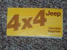 1986 Jeep Cherokee Wagoneer Owner's Owner Manual User Guide 4WD ORIGINAL