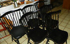 Set of 6 Pine Ethan Allen Dinette Chairs Black Distressed Finish (RP-DC39)