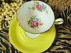 EARLY ROYAL GRAFTON tea cup and saucer YELLOW  WITH PINK ROSE FLORAL BOUQUET