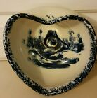 VINTAGE PAUL STORY POTTERY MARSHALL TX. HEART SHAPED BOWL WITH COBALT BLUE HOUSE