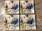 222 Fifth Square Dessert Plates. Coraline. Beautiful Colorful Floral Design. New