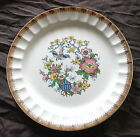 Vtg COLLECTIBLE Signed CRONIN #55 DINNER PLATE RARE Flowers Bird House GOLD TRIM
