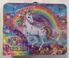 Lisa Frank 100 Piece Jigsaw Puzzle in Tin Lunch Box Unicorn Rainbow
