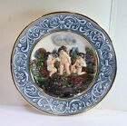 Vintage CAPODIMONTE PLATE - 3 CHERUBS With FRUIT - Original Tags Hand Painted