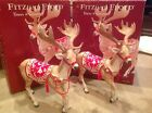 2007 Set of 2 Fitz & Floyd TOWN & COUNTRY Reindeer Figurines with original boxes