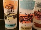 Vtg Antique Autos Glasses (5) * People In Period Clothes * Highball * Iced Tea