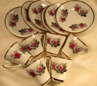 Vintage Nanjing Demitasse Set Red Rose Cups and Saucers