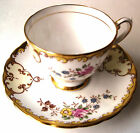 Vintage Tuscan Demitasse Cup Saucer Gold Yellow Pink Rose England Teacup Scroll