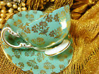 AYNSLEY FANCY  TEA CUP AND SAUCER sage gold flowers chintz OBAN  GILT c1950s