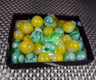 33 matching Peltier opalescent rainbo marbles Nm+