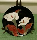 Fitz And Floyd Calla Lily Bread / Dessert Plate Black 7 1/2