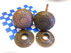 2 1870s EASTLAKE BRASS DOOR KNOBS and ROSETTES NICE PATINA