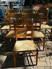 6 Vintage / antique Maple ladder back rush chairs, Amish made in Pa.