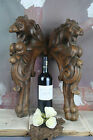French PAIR Wood oak carved Chimaera Dragon gothic cabinet parts 1880
