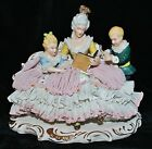 Antique German Dresden Lace Porcelain Victorian Figural Group Reading Book