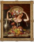 George Stevens, Girl With Flower Basket Antique Oil Painting, 1842
