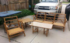 Rattan Bamboo Sectional Patio Set w/ Sofa Chair Coffee SideTable Milo Baughman